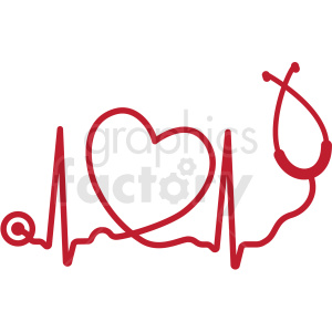 heartbeat with heart stethoscope svg cut file clipart. Royalty.