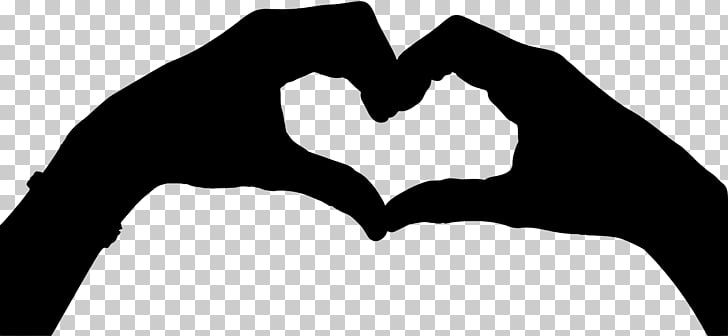 Hand heart Drawing Silhouette , love symbol PNG clipart.