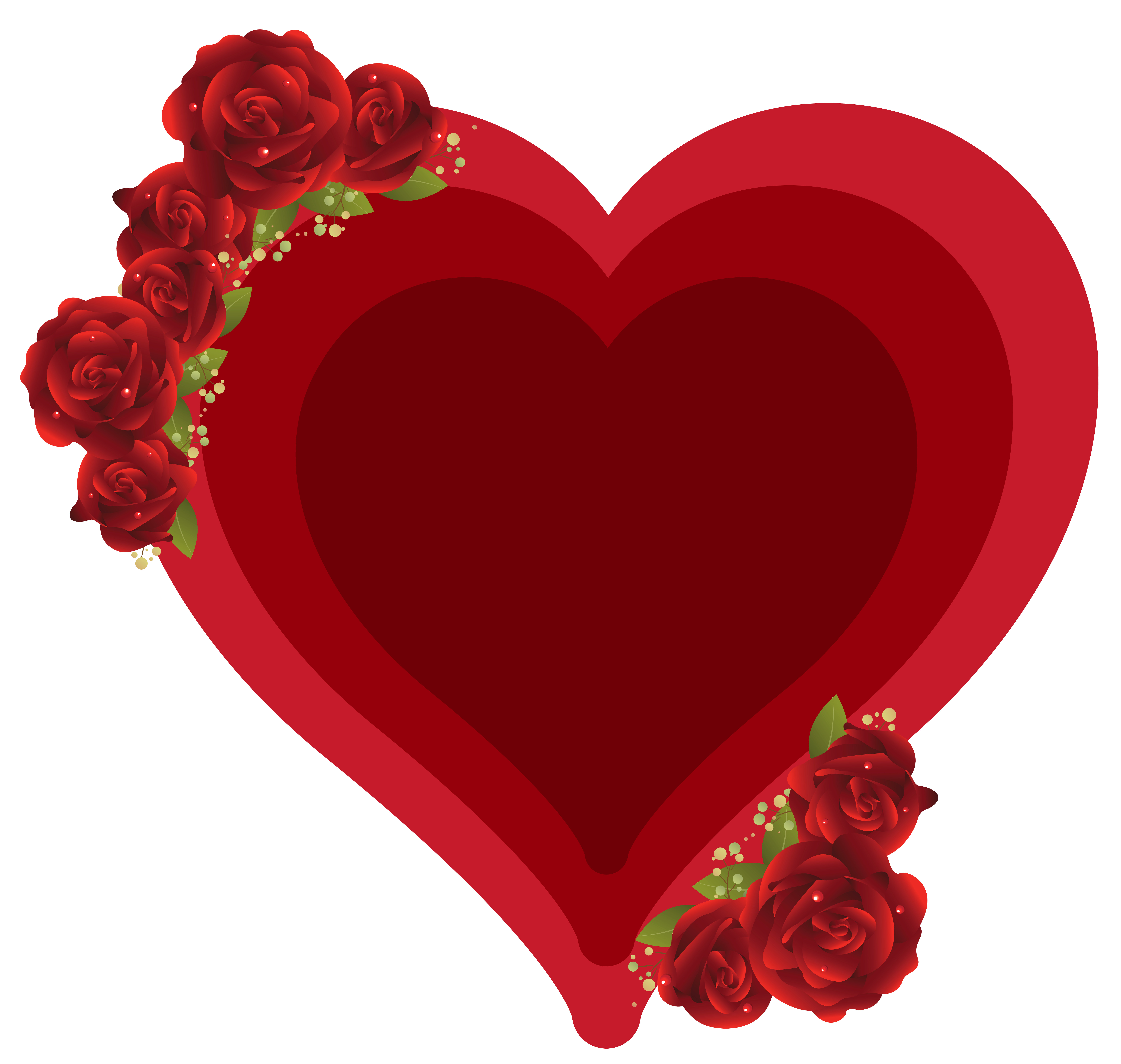 Deco Heart with Roses PNG Clipart Picture.