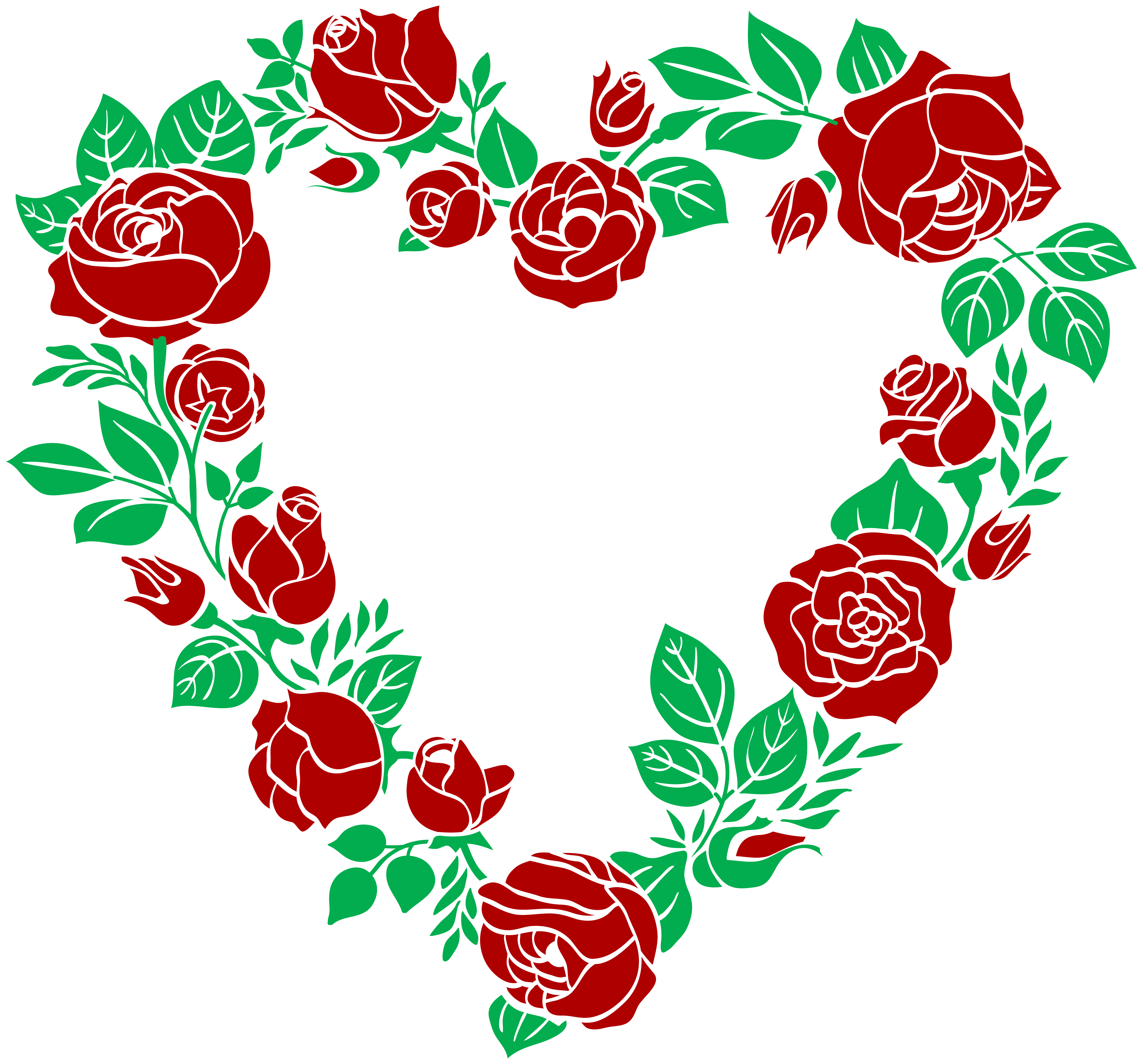 Red Rose Heart Border PNG Clip Art Image.