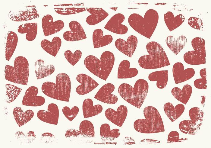 Grunge Style Hearts Background.