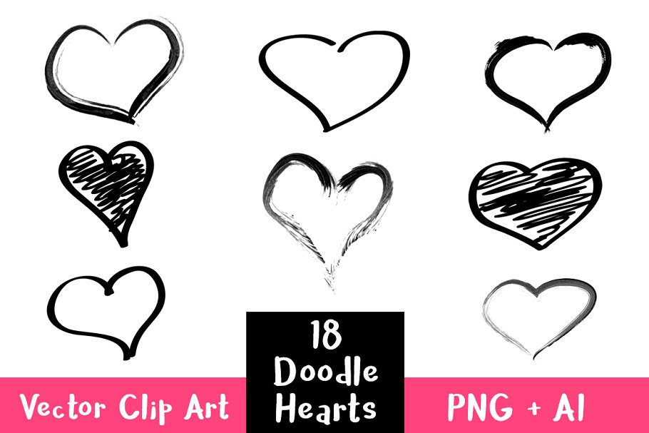 18 Doodle Hearts Clipart.