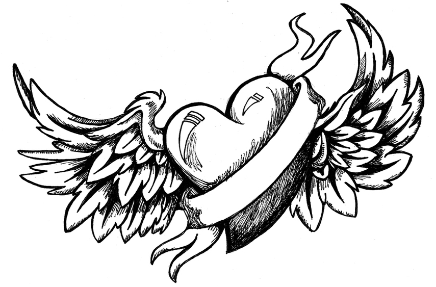 Coloring Pages Of Hearts With Wings And Roses