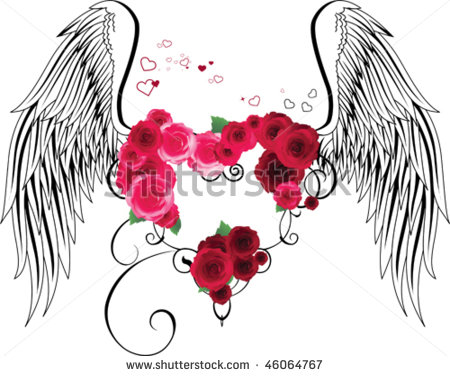 Clipart Of Hearts With Wings And Roses.