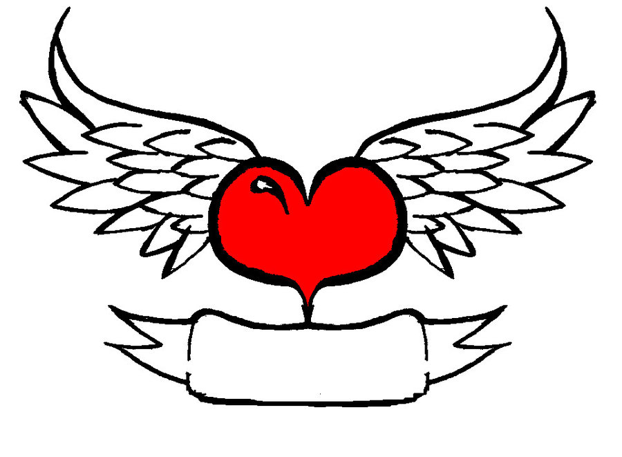 Hearts With Wings And Roses Clipart.