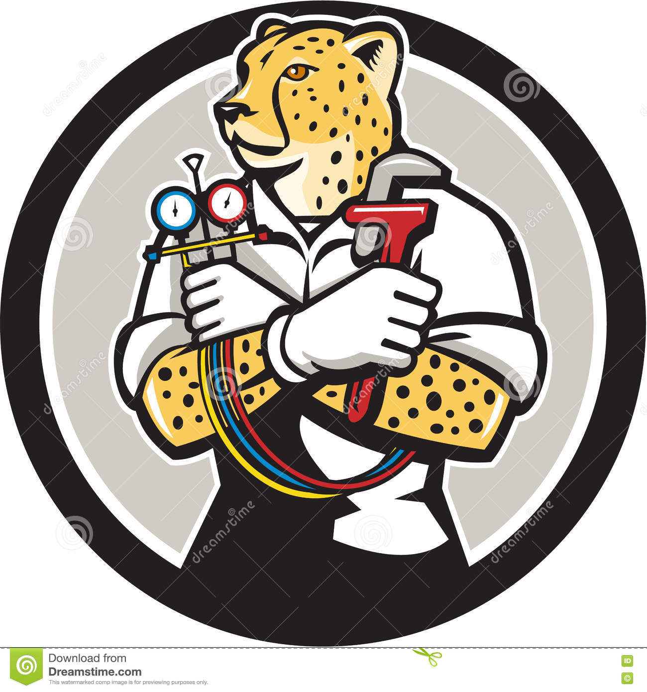 Cheetah Heating Specialist Circle Cartoon Stock Illustration.