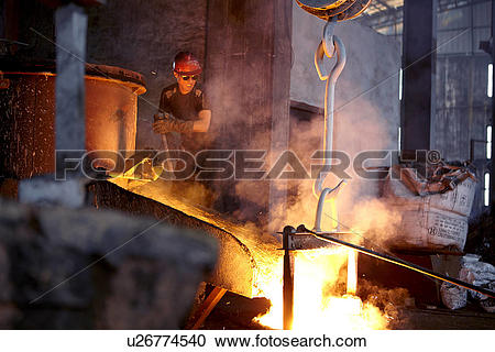 Stock Photography of Working in cast iron foundry u26774540.