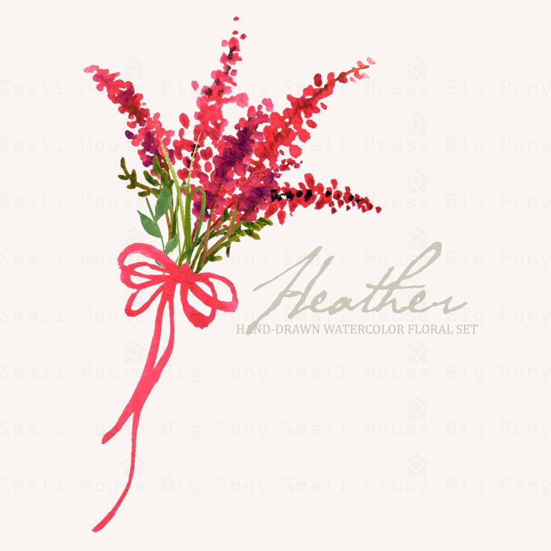 Watercolour Floral Clipart: Scot Heather Sprigs, Wreath, floral.