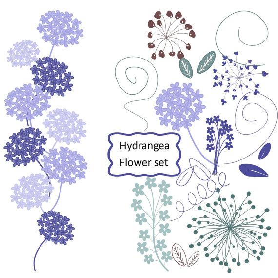 Wedding Hydrangea Clipart in Heather Flower by aprilhovjacky.