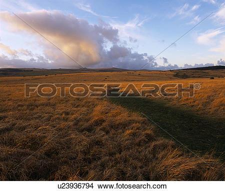 Stock Photo of England, Devon, Two Bridges, Evening cloudscape.