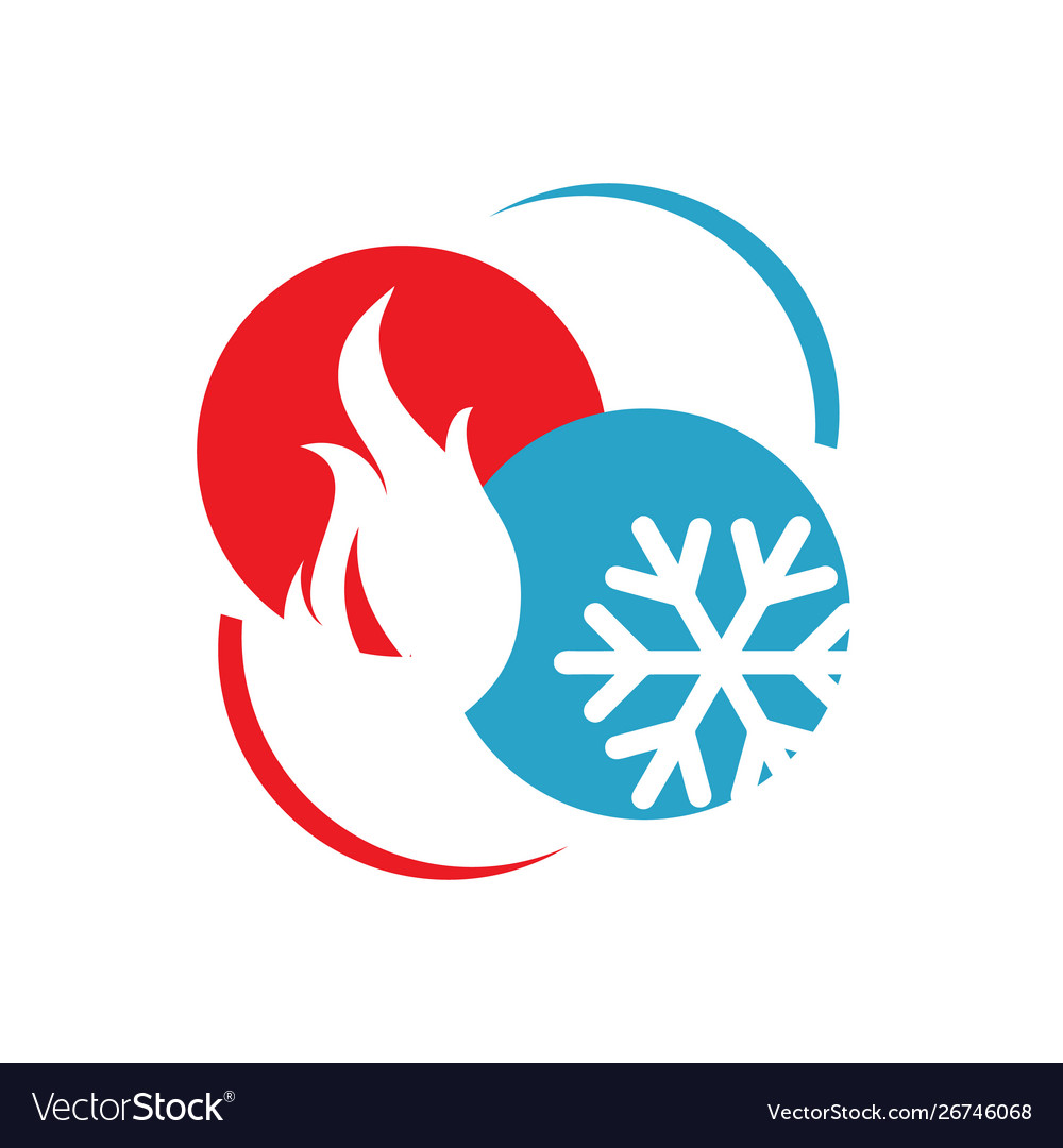 Abstract heating and cooling hvac logo design.