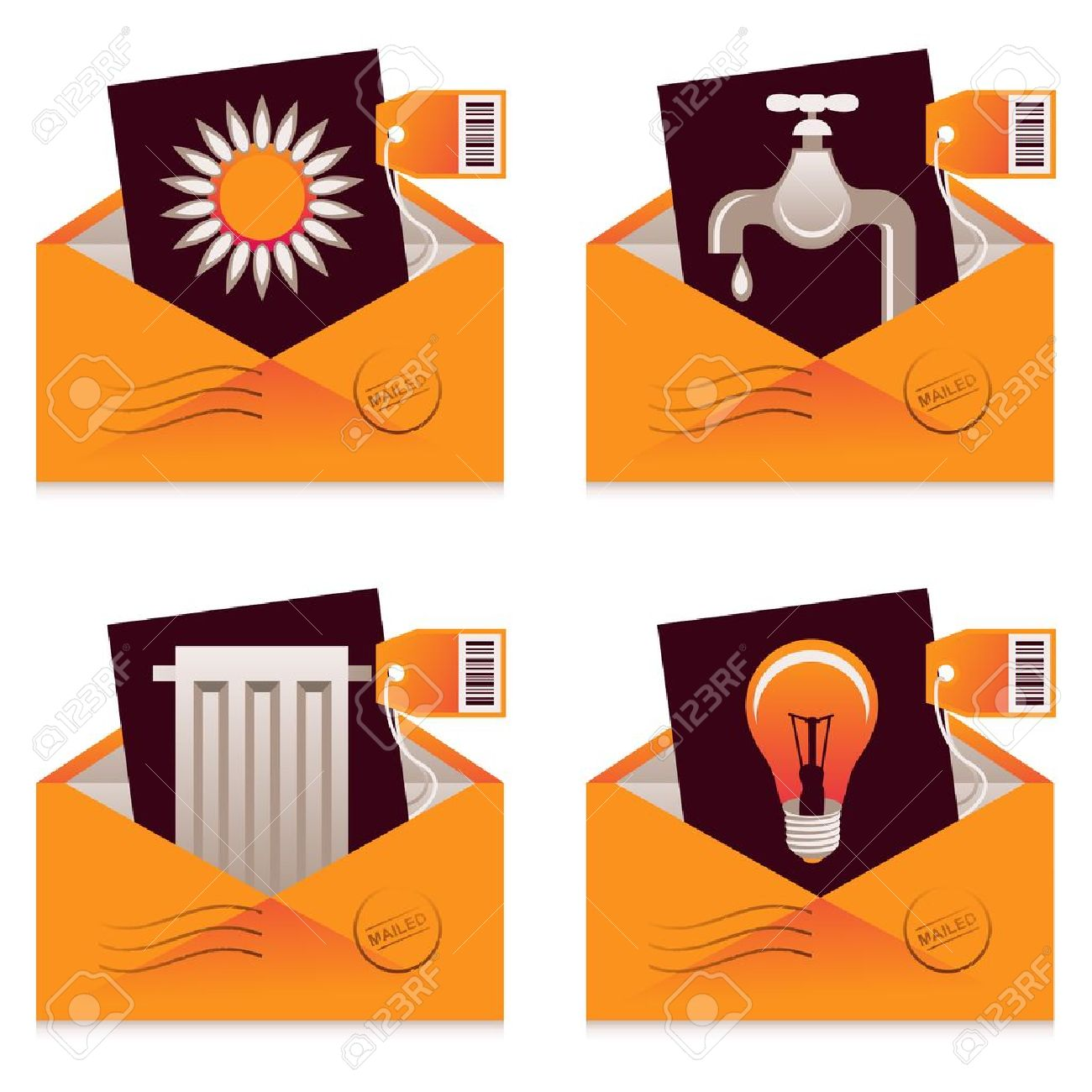 Collection Of Mailed Bills For Water, Electricity, Heating And.