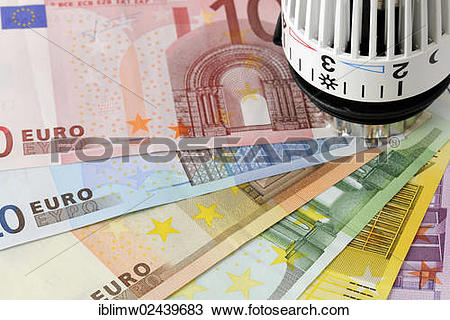 "Stock Photo of ""Radiator valve with euro banknotes, symbolic image."