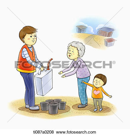 Stock Illustration of Volunteer giving heating oil and briquette.