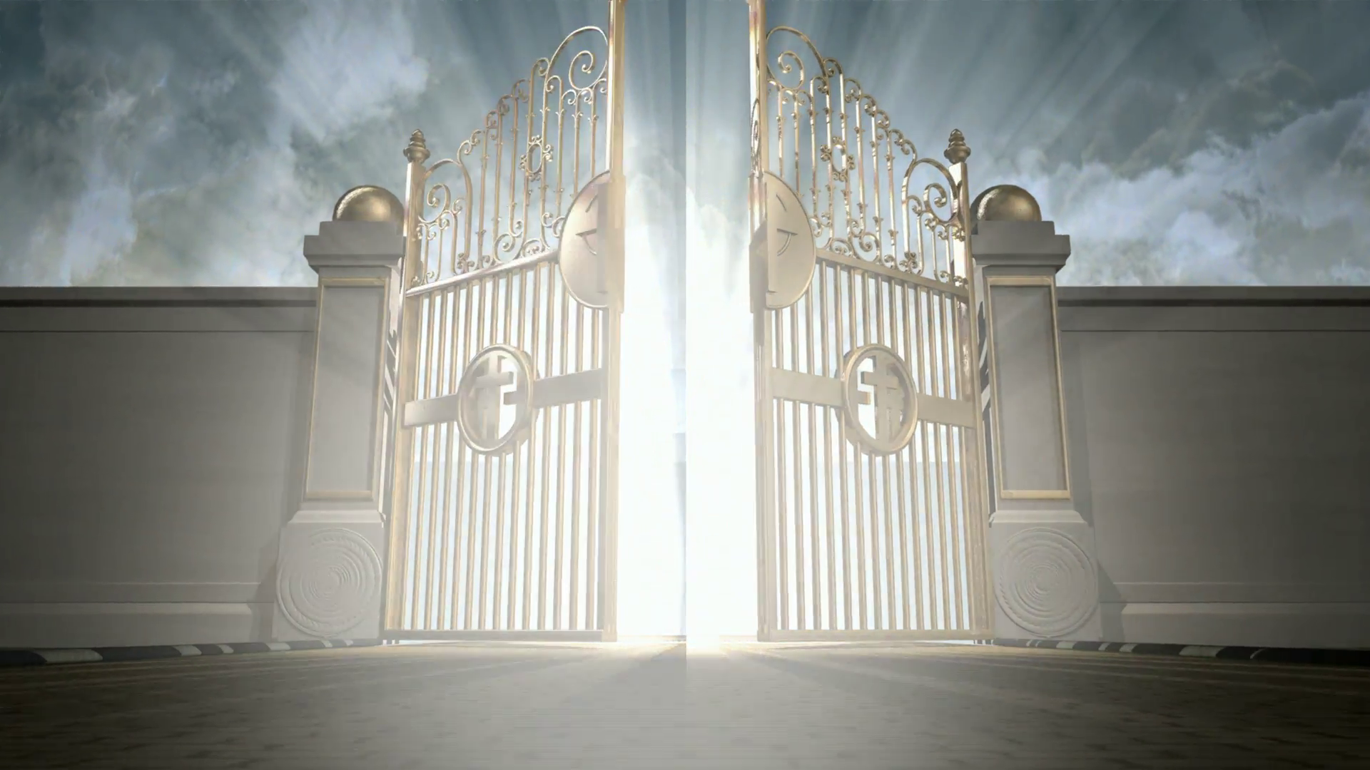 Heavens golden gates opening to an ethereal light on a cloudy background  Motion Background.