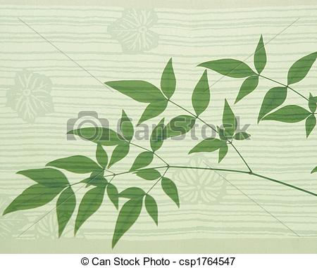 Picture of heavenly bamboo on an Asian leaf motif background.