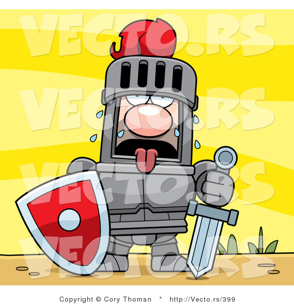 Vector of a Fatigued Knight Sweating in Armor While Holding Heavy.
