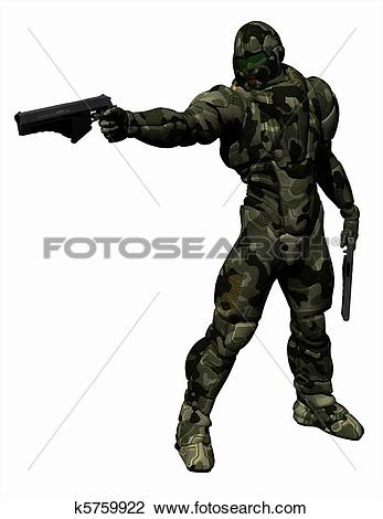 Clip Art of Space Marine in Heavy Camo Armour k5759922.
