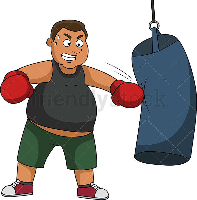 Overweight Man Exercising With Boxing Gloves.