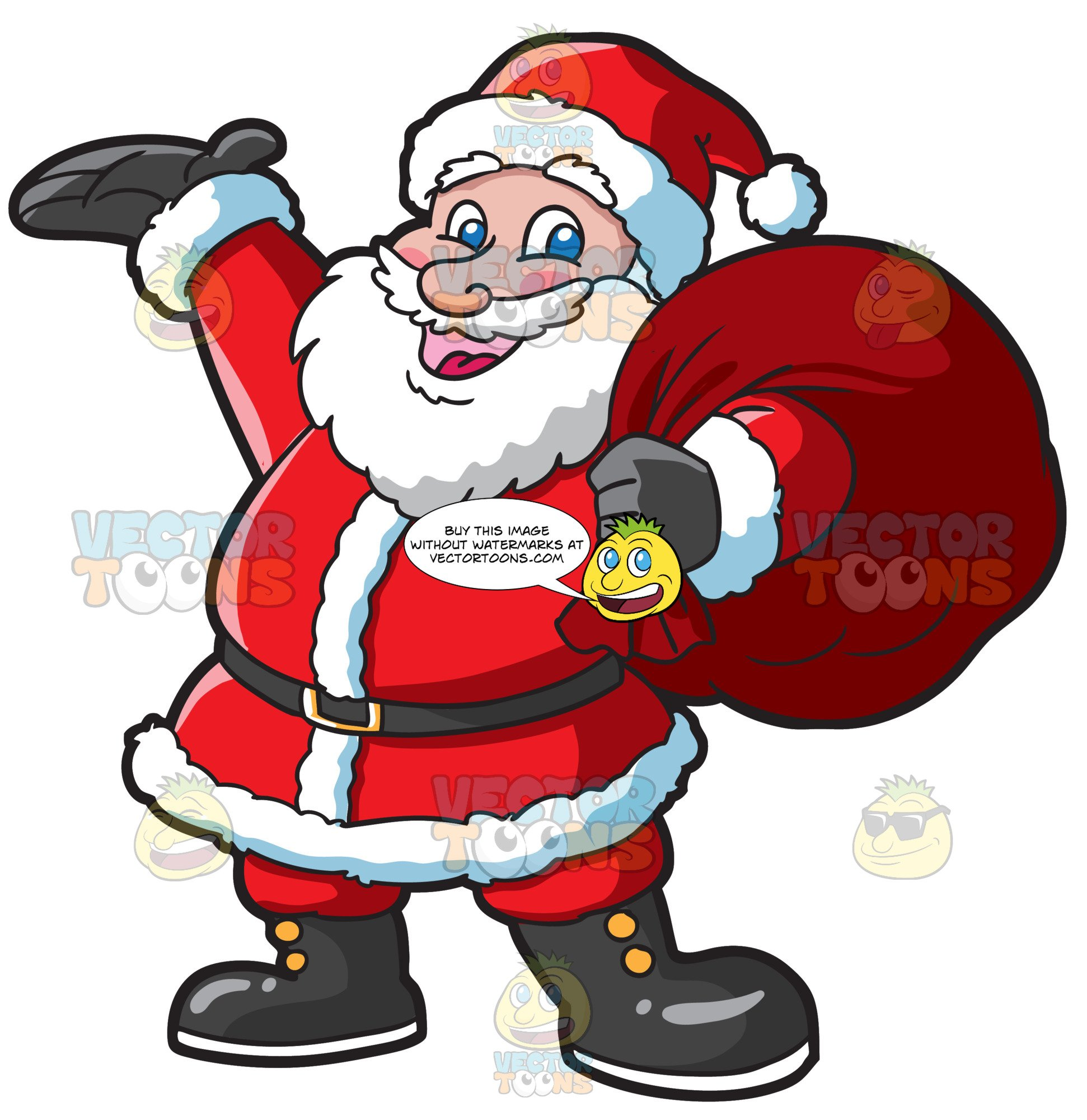 Santa Clause Carrying A Heavy Bag.