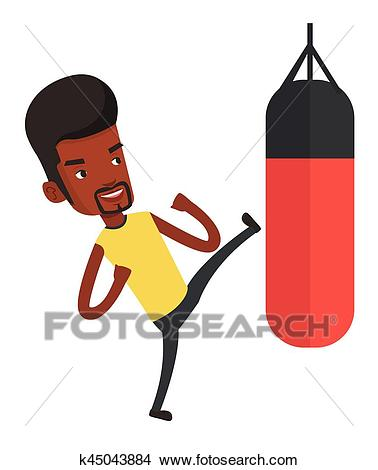 Man exercising with punching bag. Clipart.