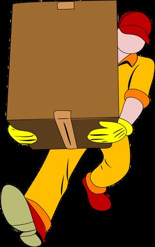 Heavy parcel delivery vector clip art.