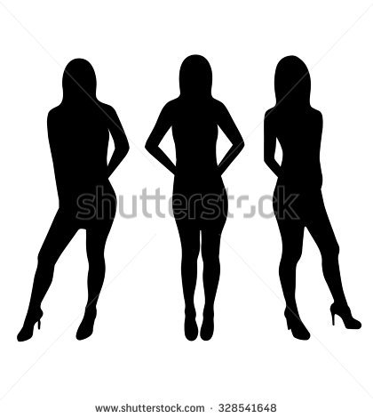 Silhouette Illustration Fat Slim Woman Figure Stock Vector.