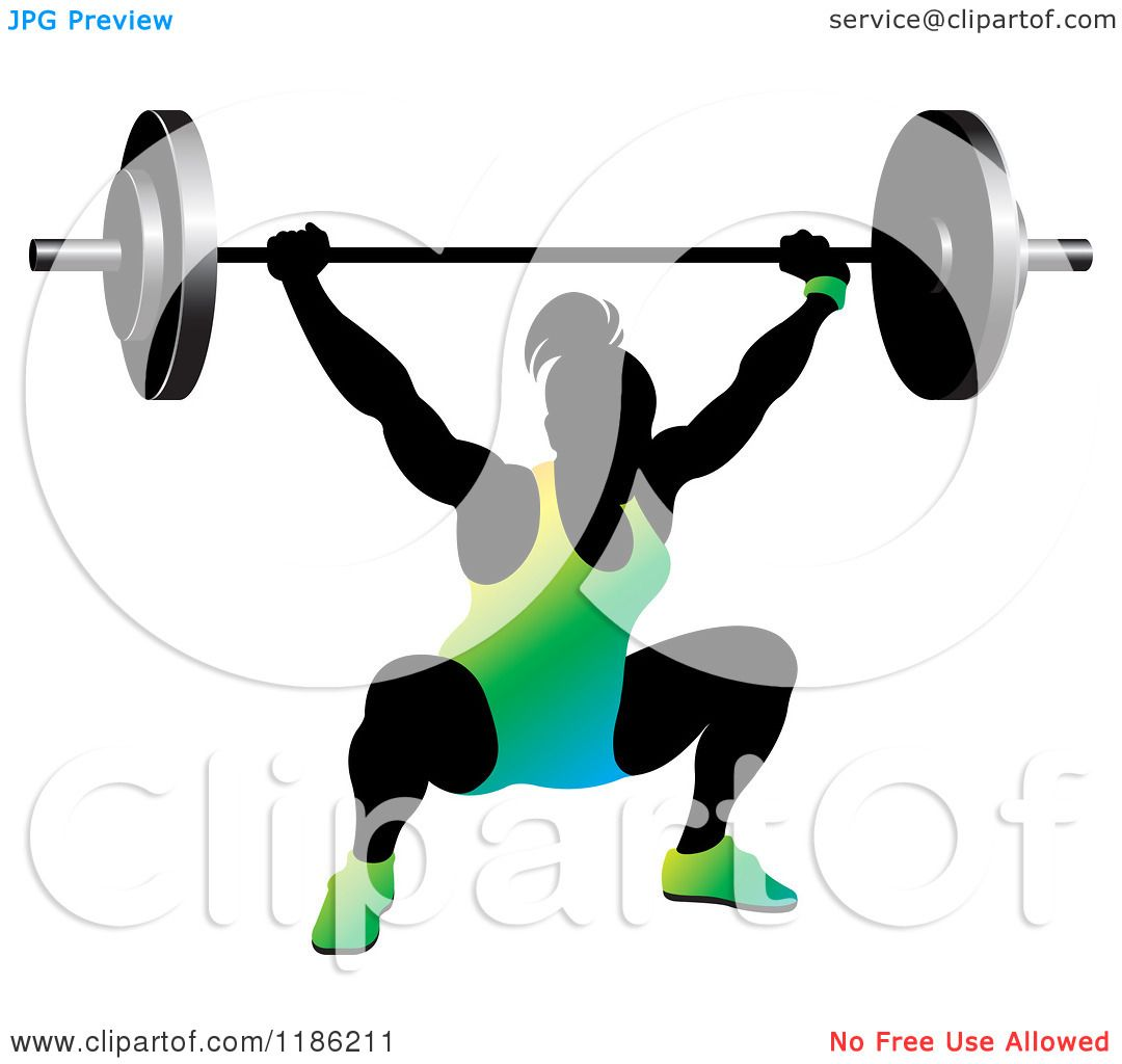 Clipart of a Silhouetted Female Bodybuilder Lifting a Heavy.