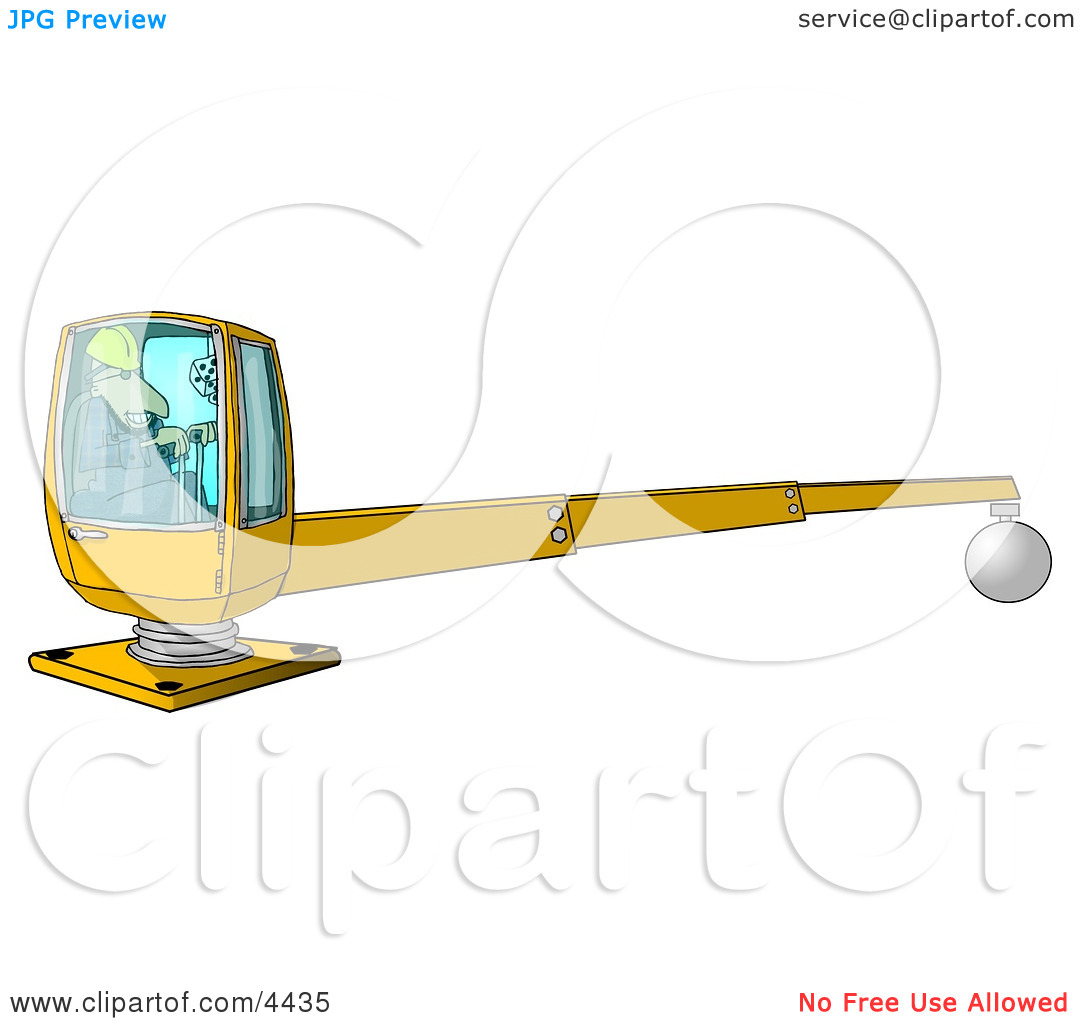 Male Construction Worker Operating a Heavy Equipment Crane Clipart.