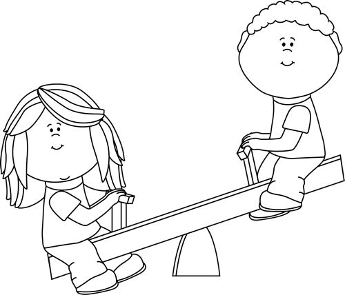 Black and White Kids on Teeter Totter.