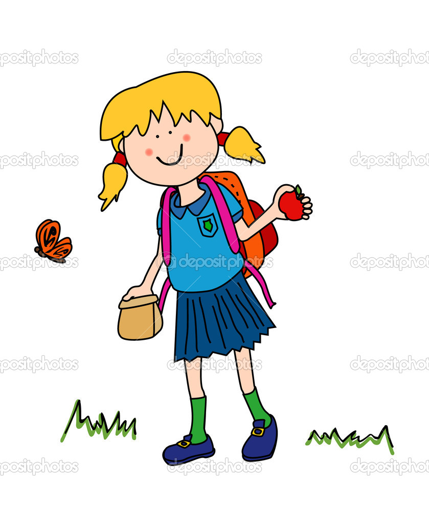 Clipart images of school kids trudging to school with heavy.