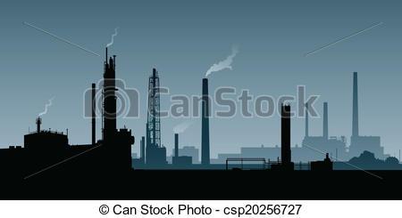 Vector Illustration of Heavy Industry Zone.