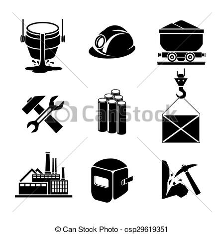 Clipart Vector of Heavy industry or metallurgy icons set. Wrench.