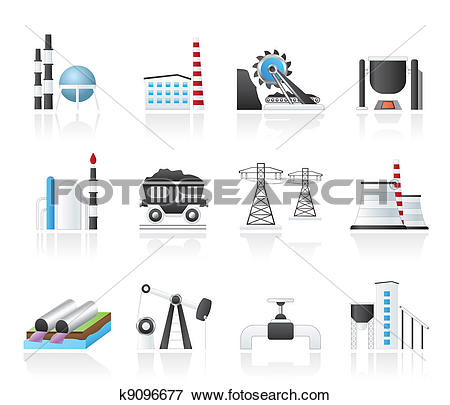 Clip Art of Heavy industry icons k9096677.