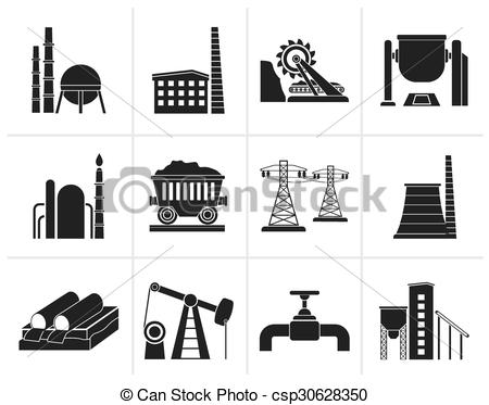 Clipart Vector of Heavy industry icons.
