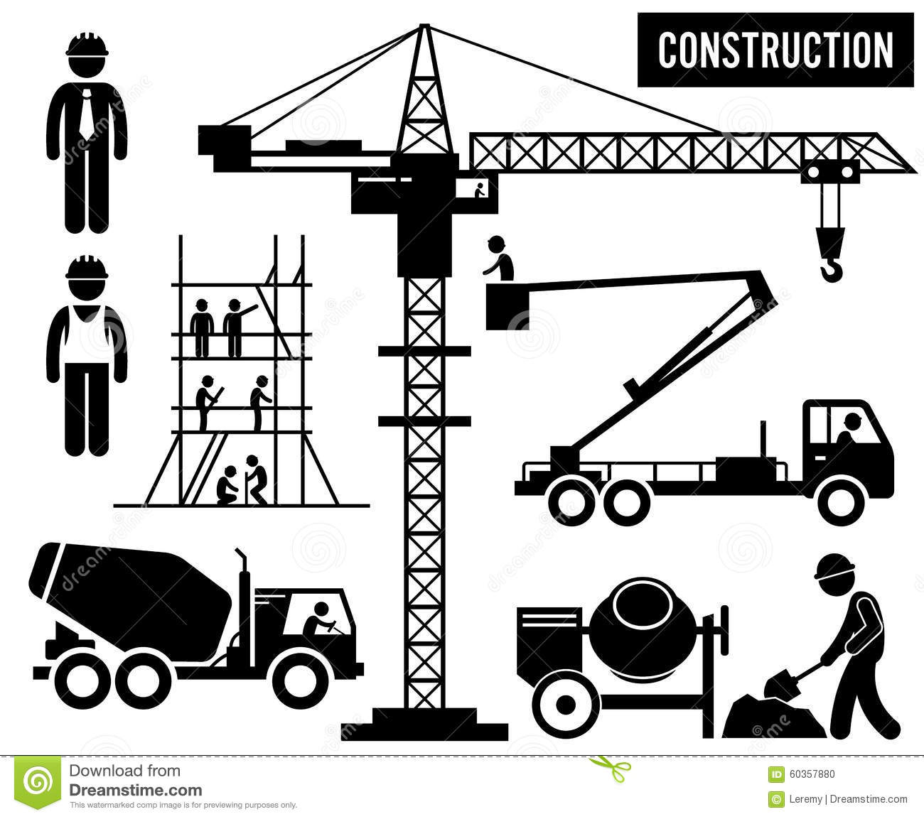 Construction Heavy Industry Clipart Stock Vector.