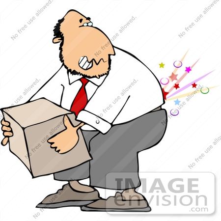 Man Lifting a Heavy Box and Hurting His Back Clipart.