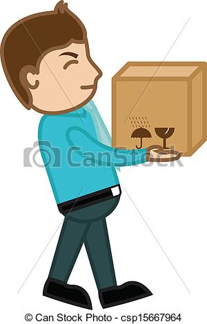 Clip Art Vector of Man Lifting Heavy Fragile Box.