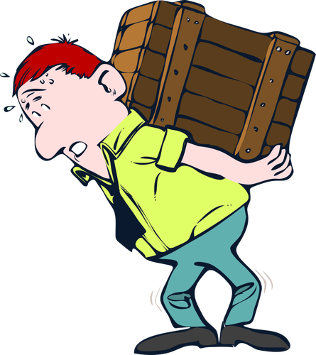 3991 clipart man carrying heavy load.