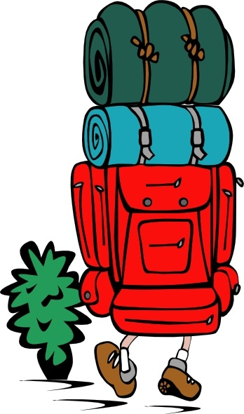 Backpacker Heavy Load clip art Free vector in Open office drawing.