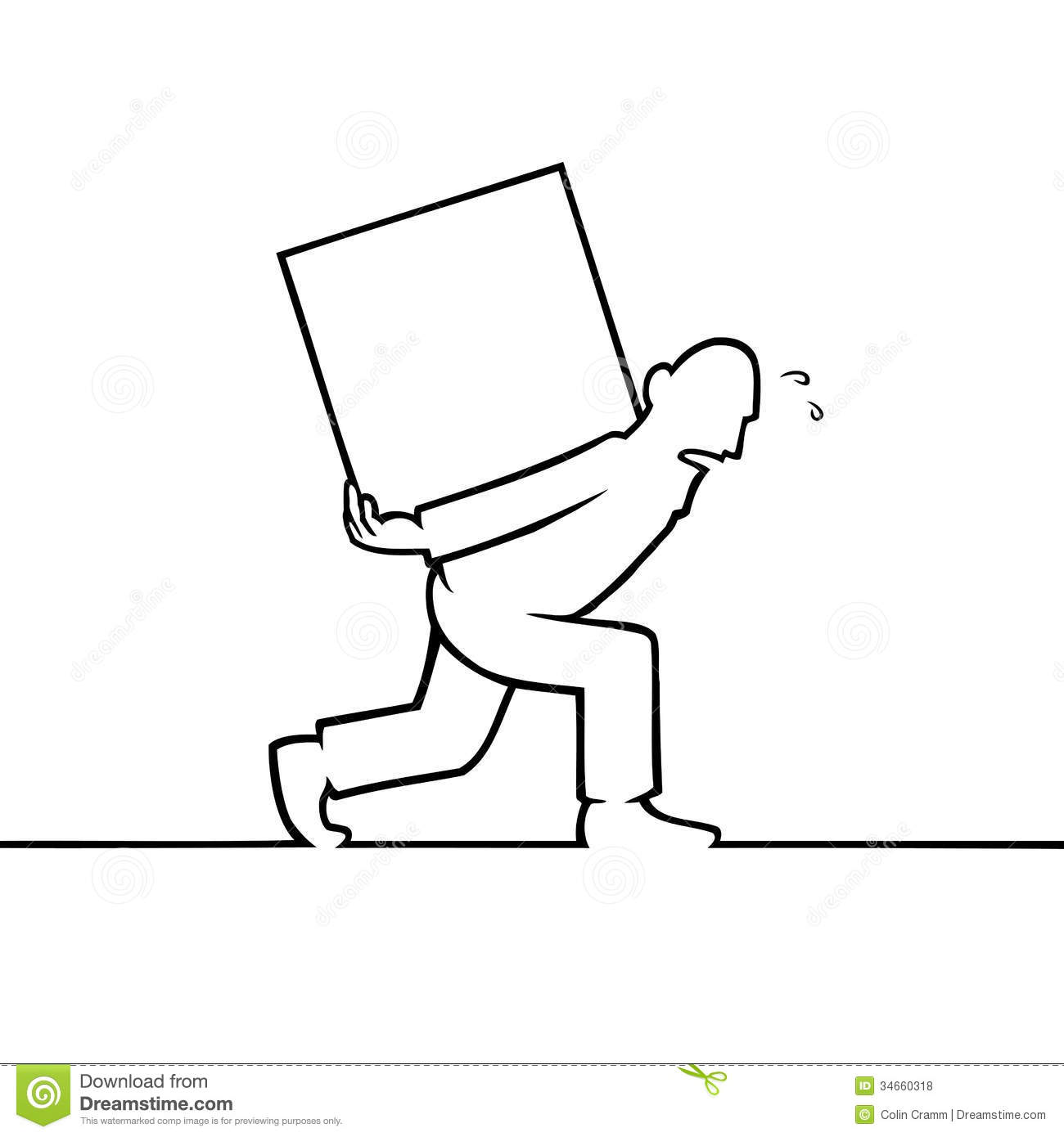 Clipart man carrying heavy load.