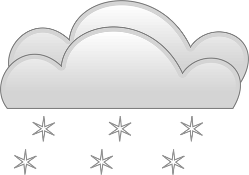 Pastel colored overcloud heavy snow sign vector clip art.