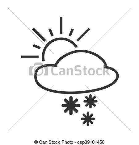 Clipart Vector of Heavy snow shower. Sleet day. Weather forecast.