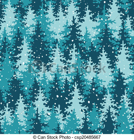Clip Art Vector of Heavy snow in the pine forest. Seamless pattern.