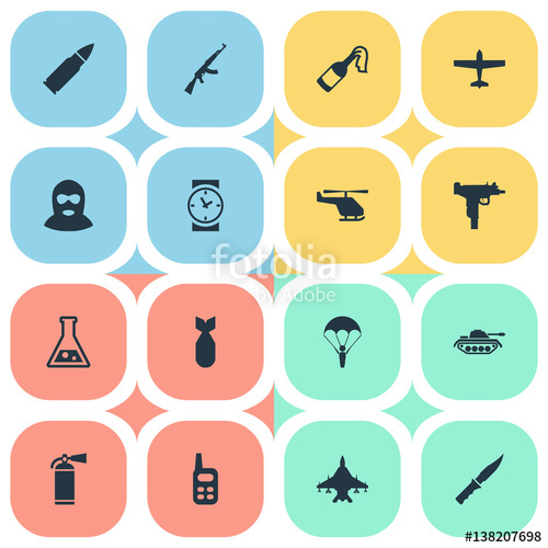 Set Of 16 Simple War Icons. Can Be Found Such Elements As Heavy.