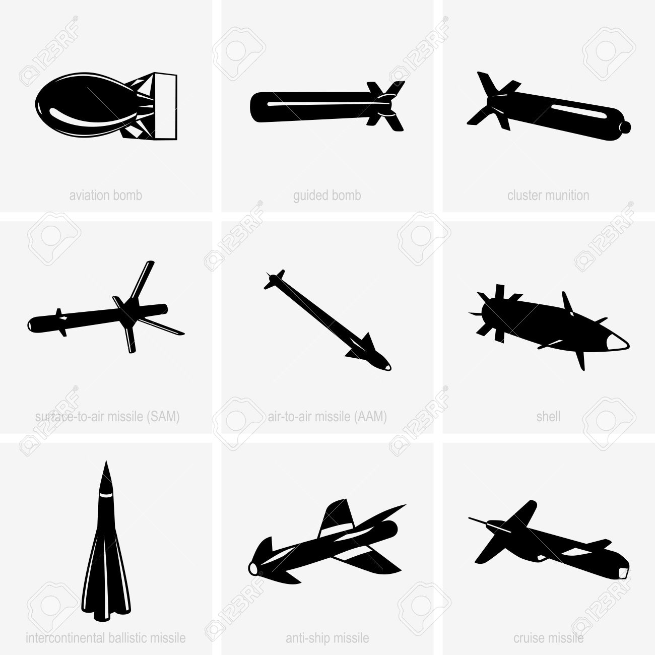 Heavy Weapon Icons Royalty Free Cliparts, Vectors, And Stock.