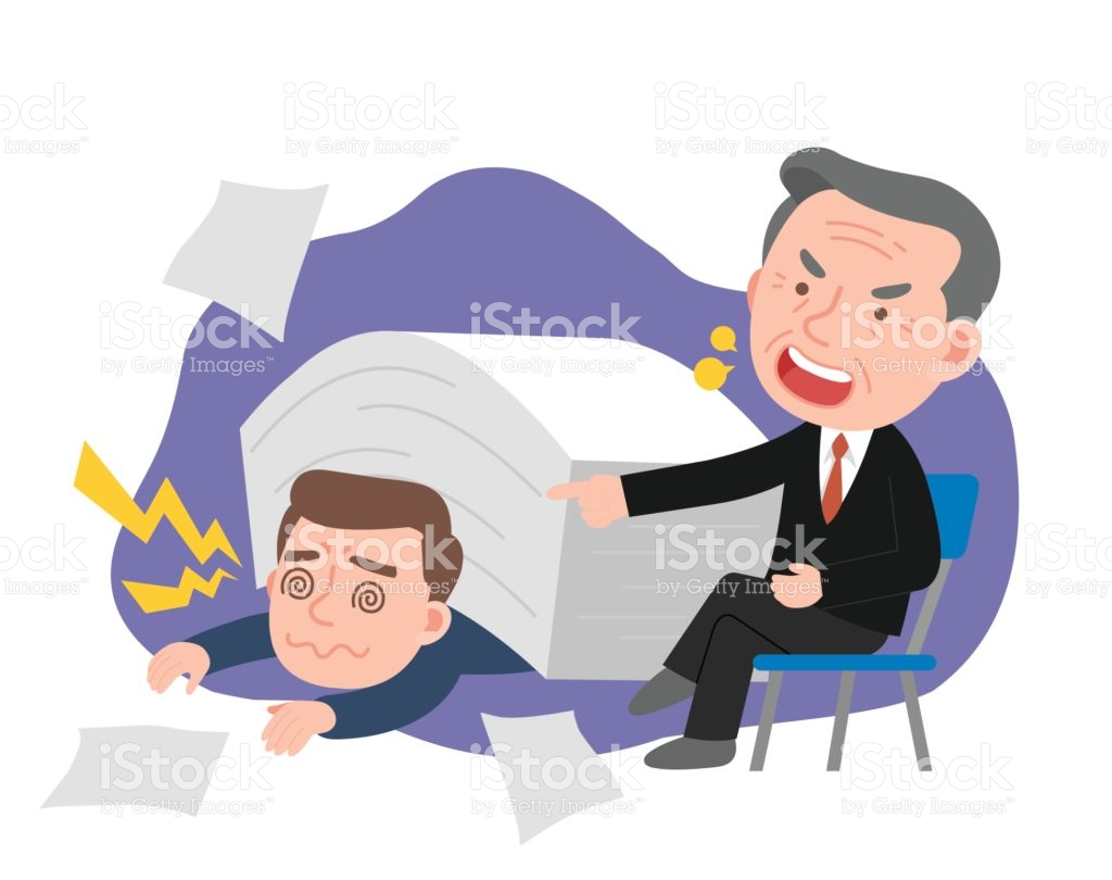 Men Receiving Heavy Workload Stresses And Angry Boss stock vector.
