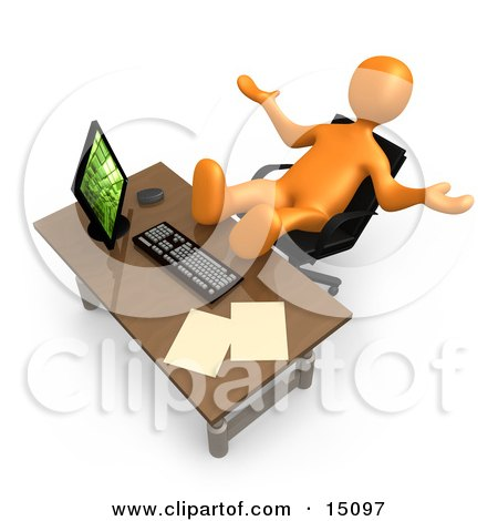 Clipart 3d White Businessman Pulling A Huge Stack Of Paperwork In.