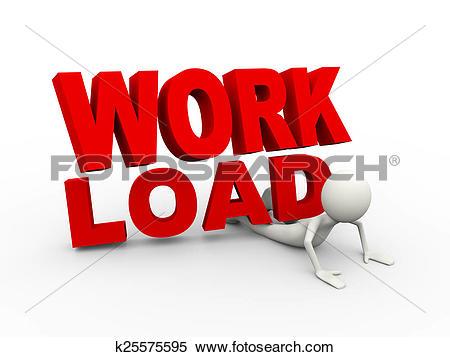 Stock Illustration of 3d man work load burden concept k25575595.