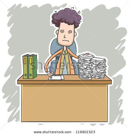 Businessman Heavy Workload Cartoon Style Stock Vector 119901523.